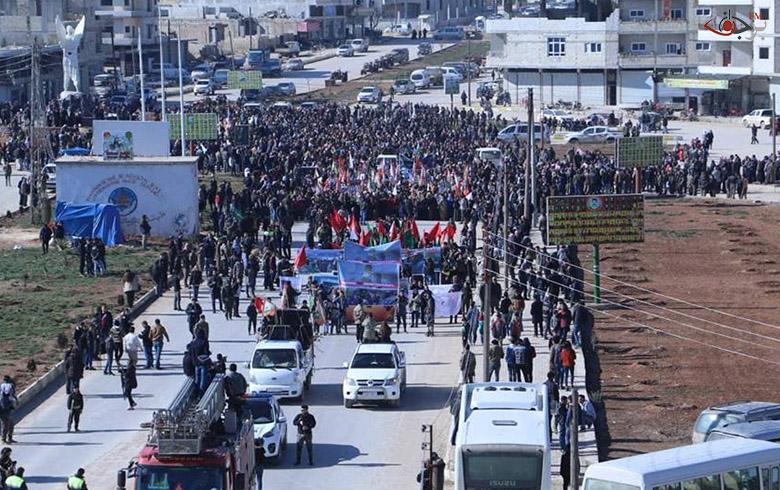 الآلاف من الكوبانيين ينددون بالتدخل التركي لعفرين والذكرى السنوية الأولى لبدء العدوان عليها