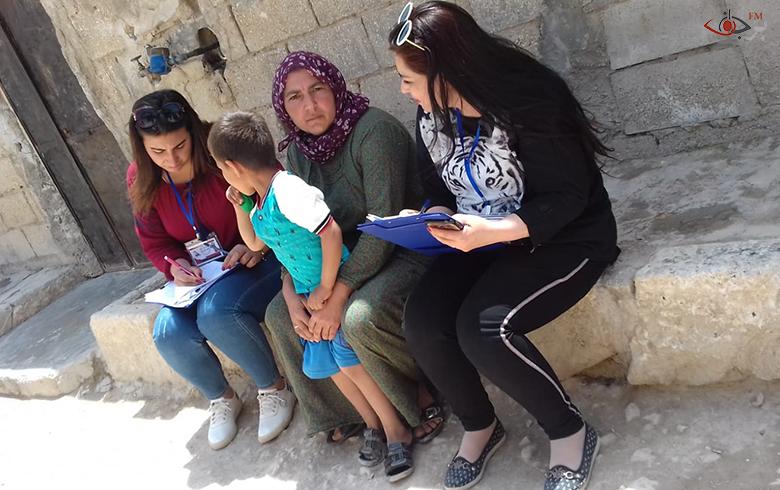 جانب من المسح الميداني الذي تقوم به منظمة برجاف في حيّز (العمل الإنساني)